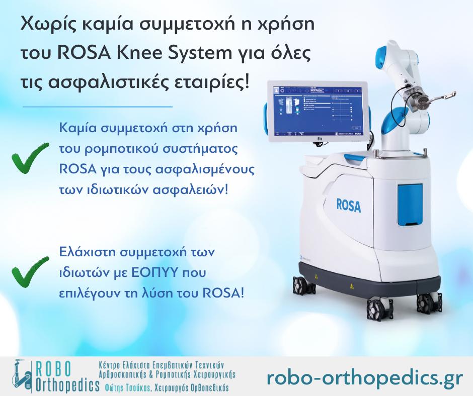 Χωρίς καμία συμμετοχή η χρήση του ROSA Knee System για όλες τις ασφαλιστικές εταιρίες